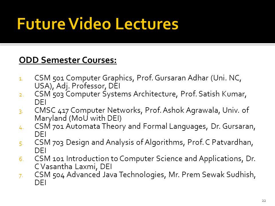 Future Video Lectures ODD Semester Courses: