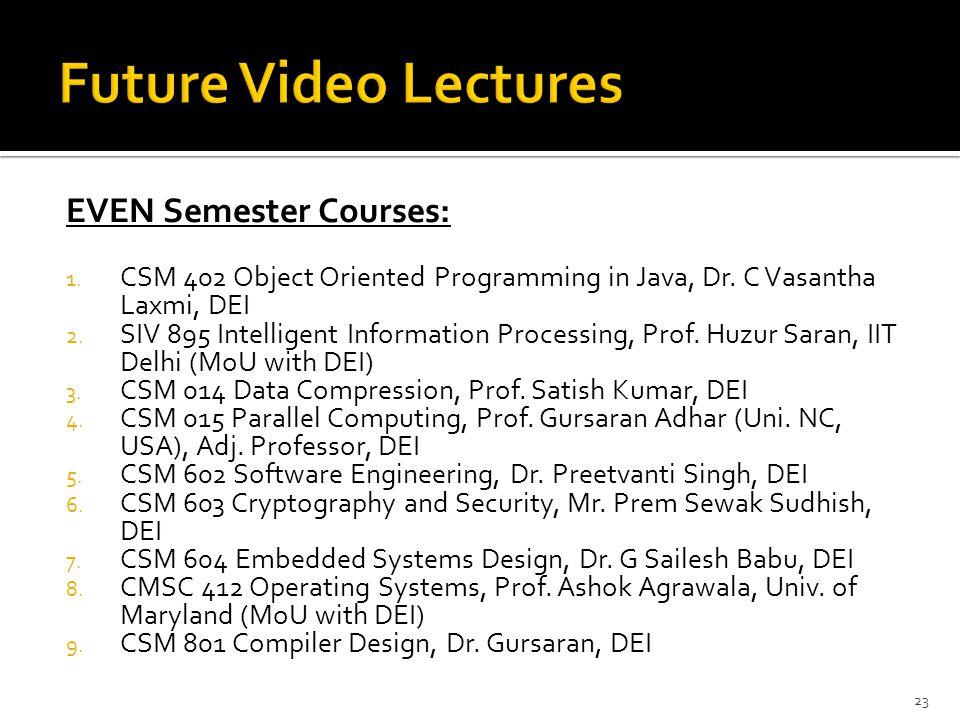 Future Video Lectures EVEN Semester Courses: