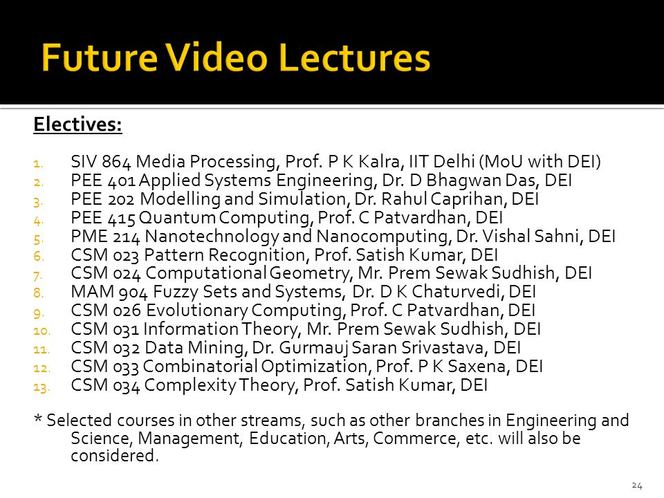 Future Video Lectures Electives:
