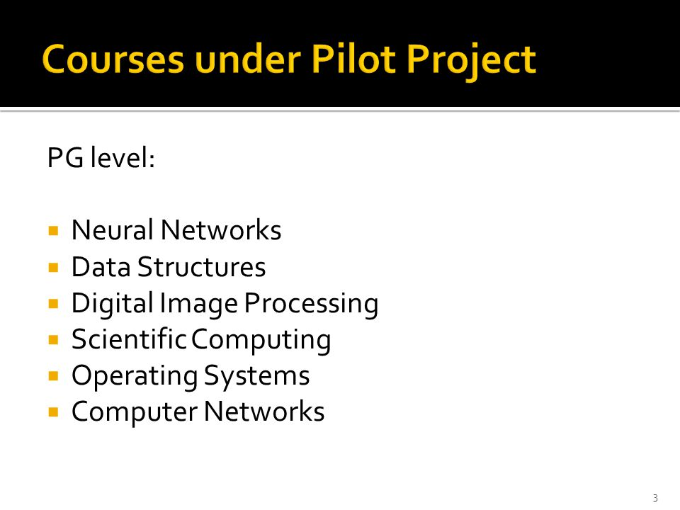 Courses under Pilot Project