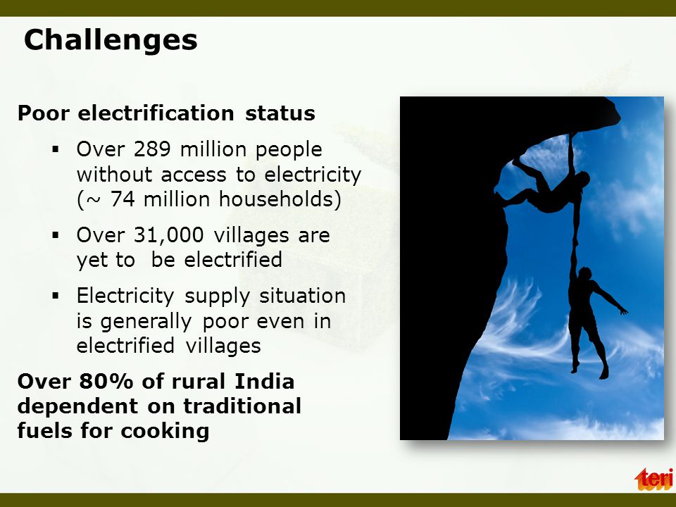 Challenges Poor electrification status
