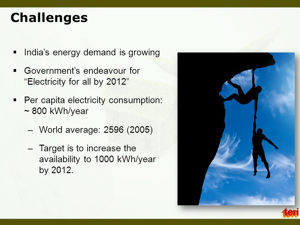 Challenges India's energy demand is growing