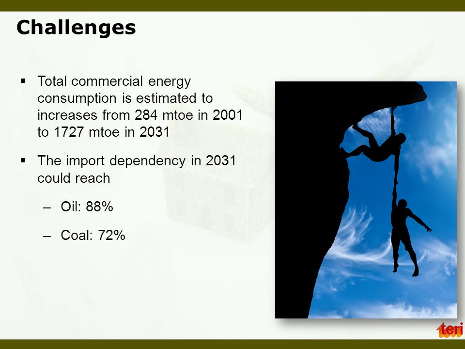 Challenges Total commercial energy consumption is estimated to increases from 284 mtoe in 2001 to 1727 mtoe in 2031.