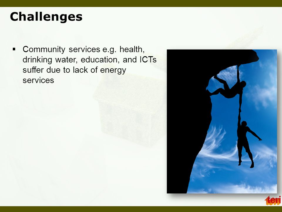 Challenges Community services e.g.