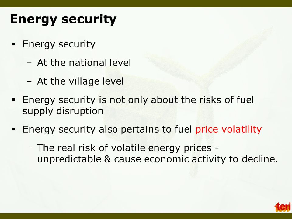 Energy security Energy security At the national level