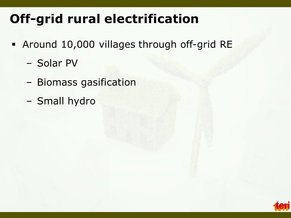 Off-grid rural electrification