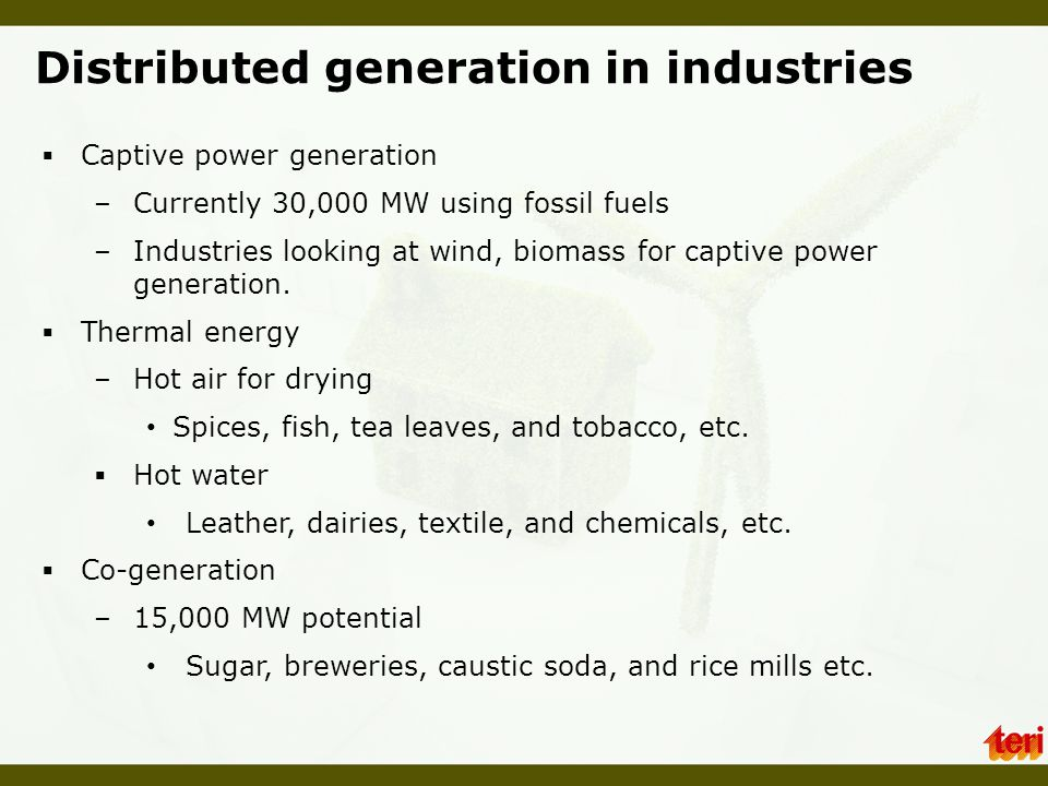 Distributed generation in industries