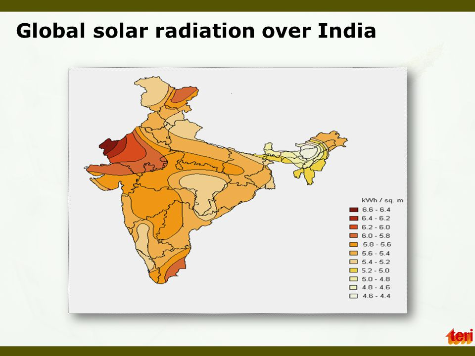Global solar radiation over India