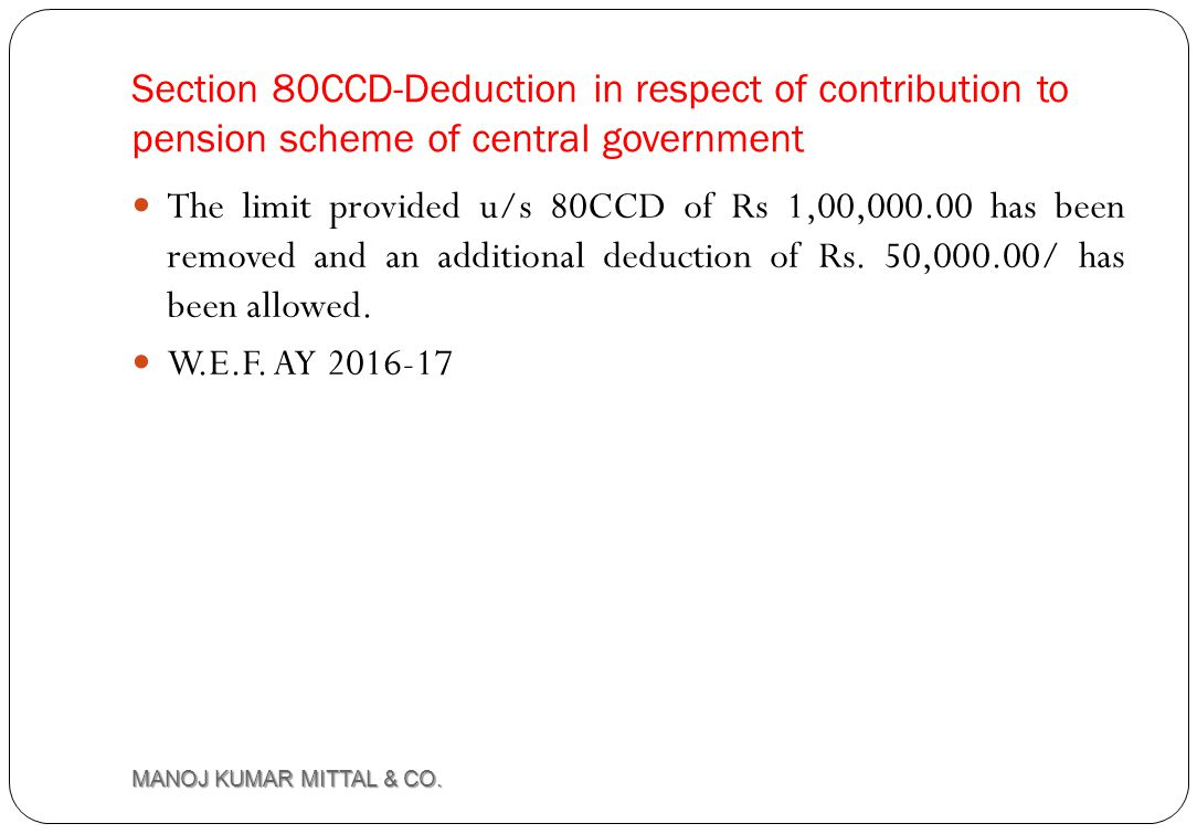 Section 80CCD-Deduction in respect of contribution to pension scheme of central government