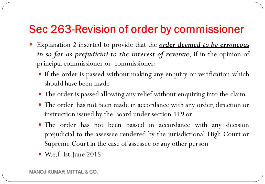 Sec 263-Revision of order by commissioner