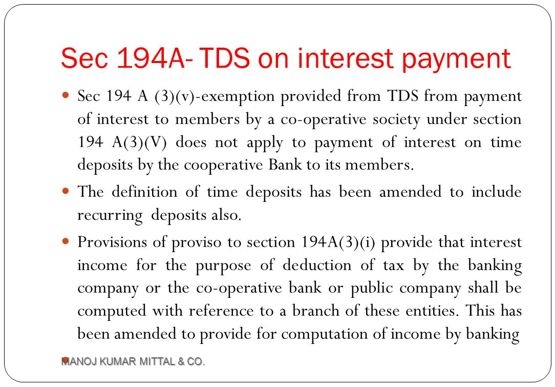 Sec 194A- TDS on interest payment