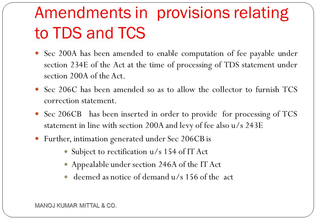 Amendments in provisions relating to TDS and TCS