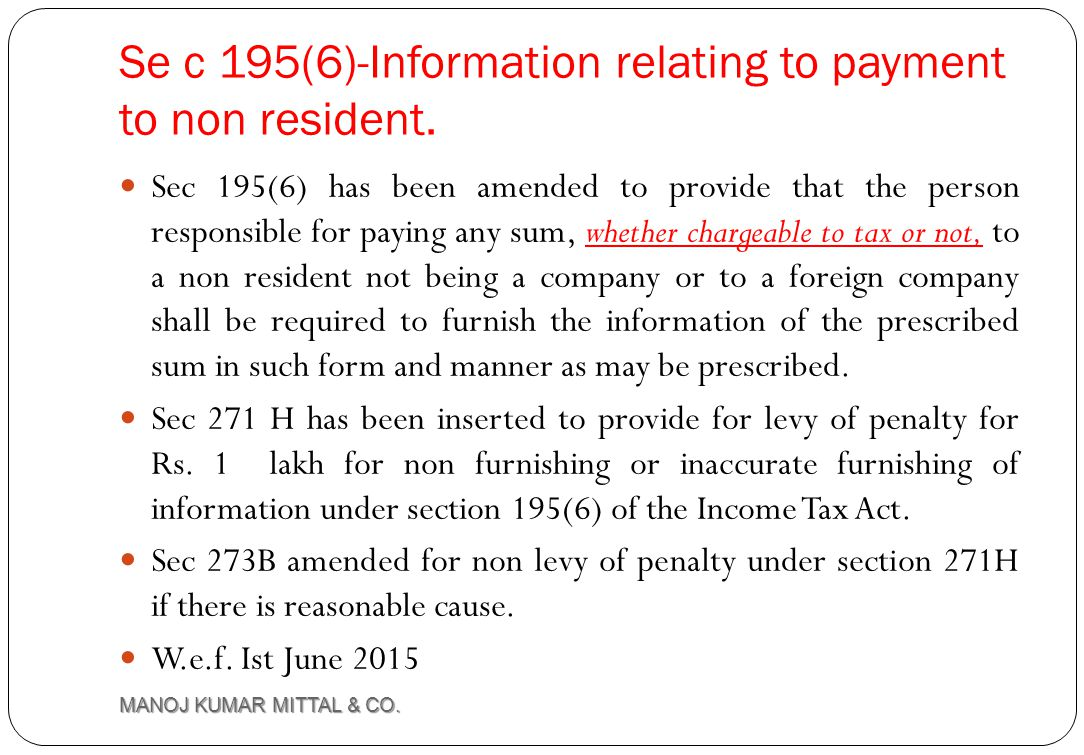 Se c 195(6)-Information relating to payment to non resident.
