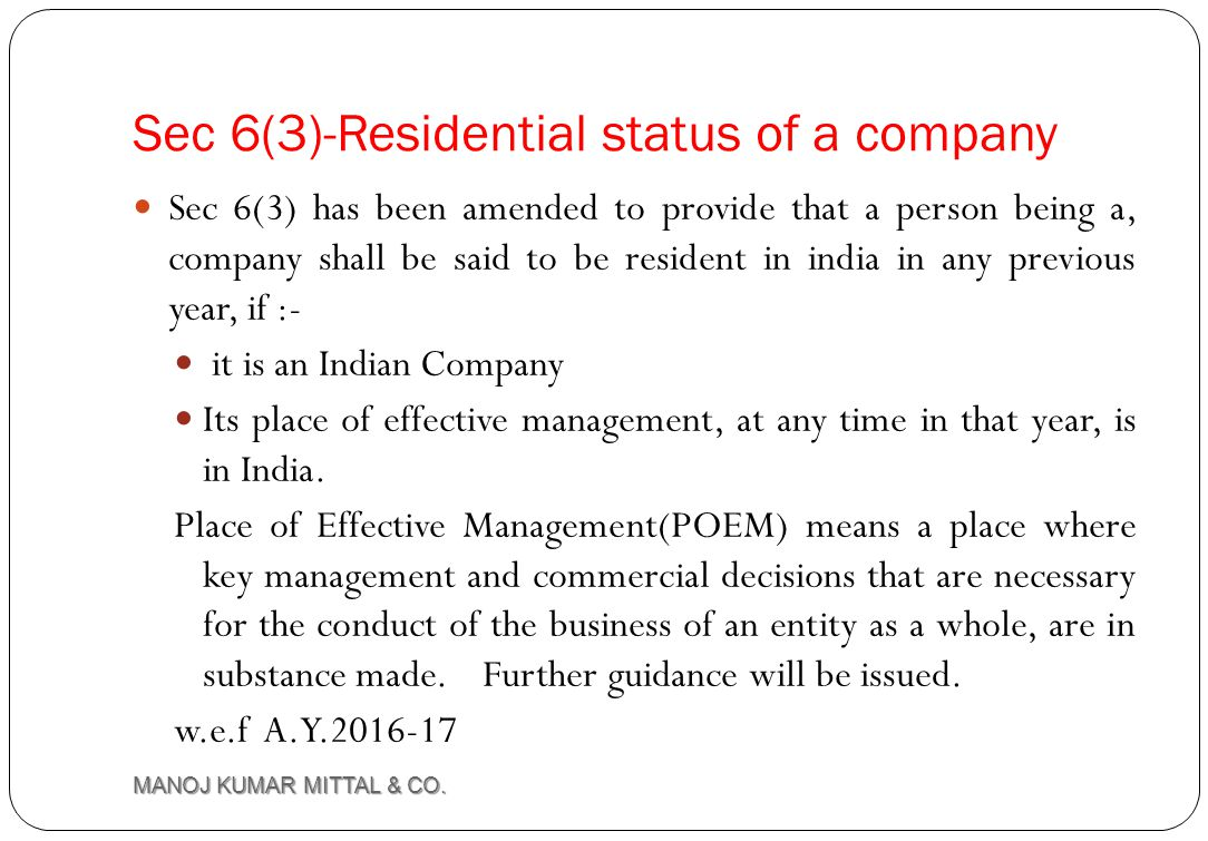 Sec 6(3)-Residential status of a company