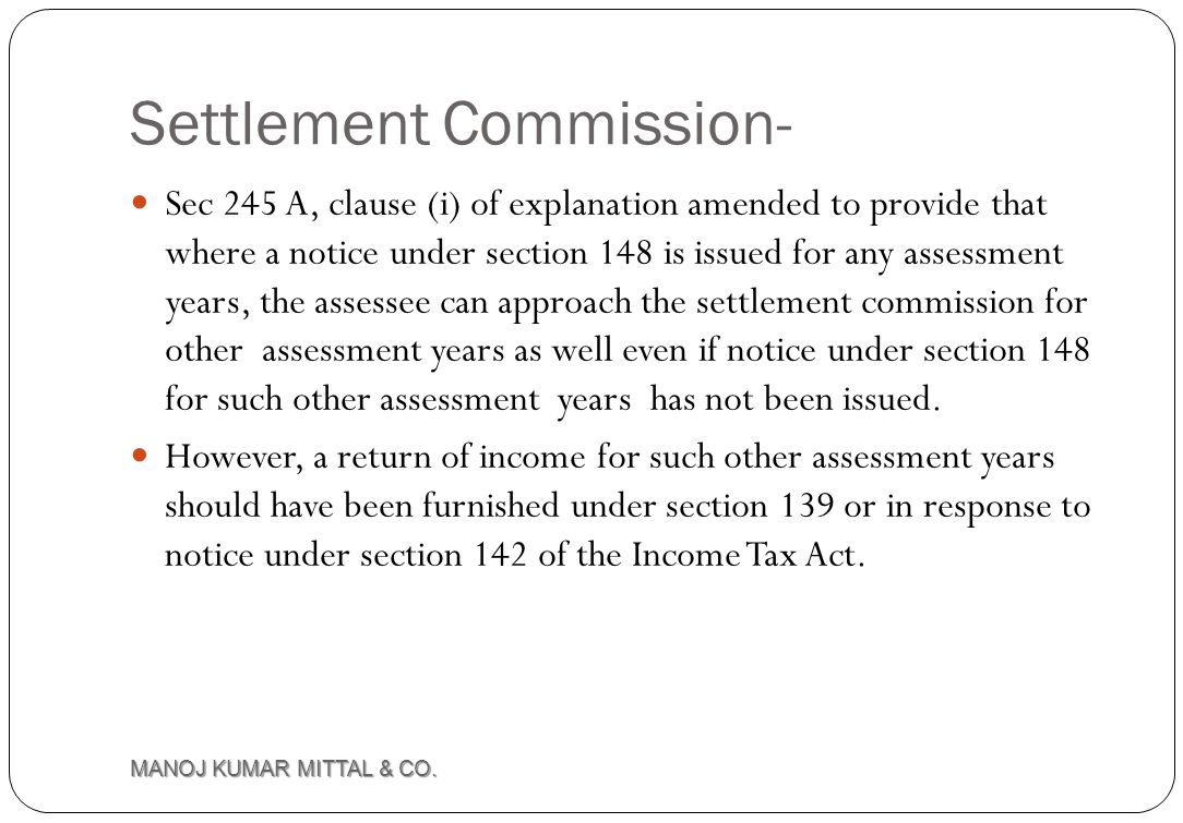 Settlement Commission-