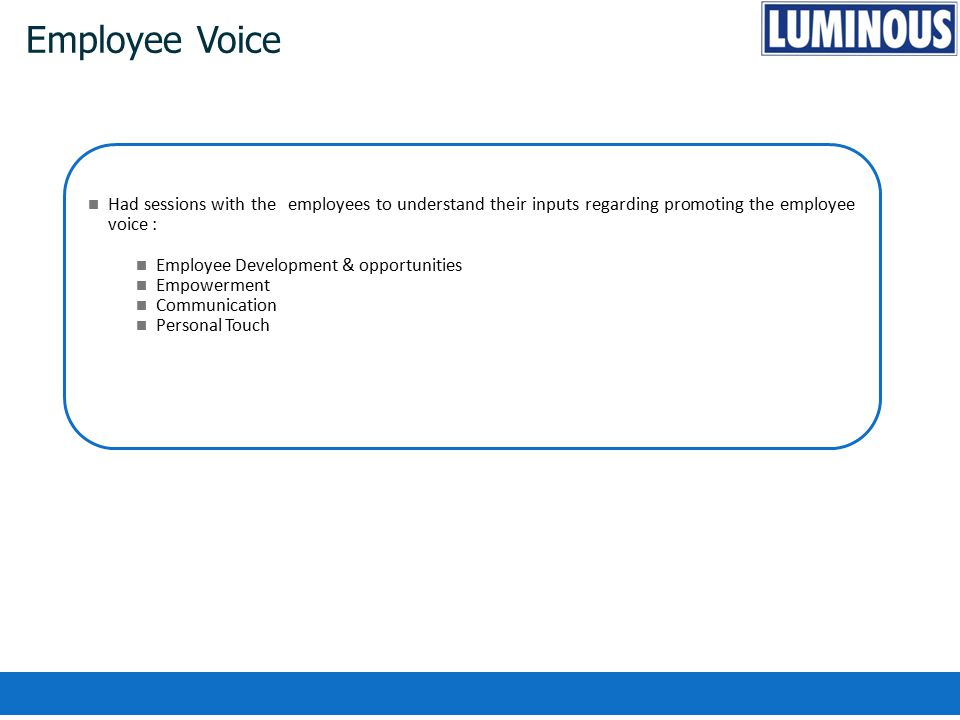 Employee Voice Had sessions with the employees to understand their inputs regarding promoting the employee voice :