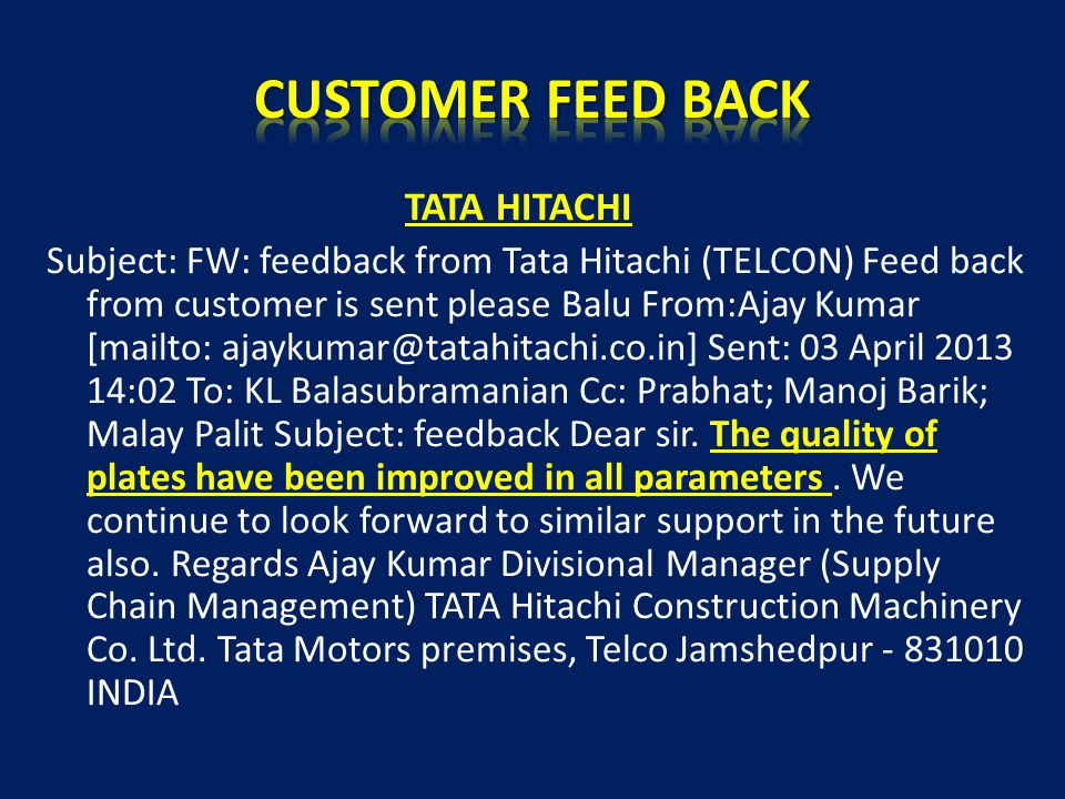 CUSTOMER FEED BACK TATA HITACHI