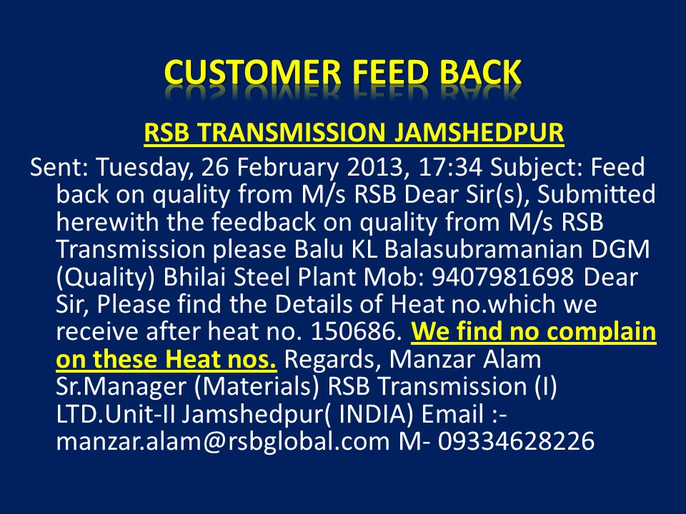 CUSTOMER FEED BACK RSB TRANSMISSION JAMSHEDPUR