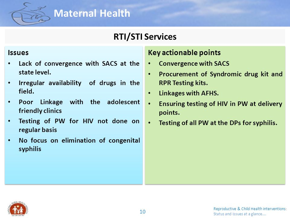 Maternal Health RTI/STI Services Issues Key actionable points