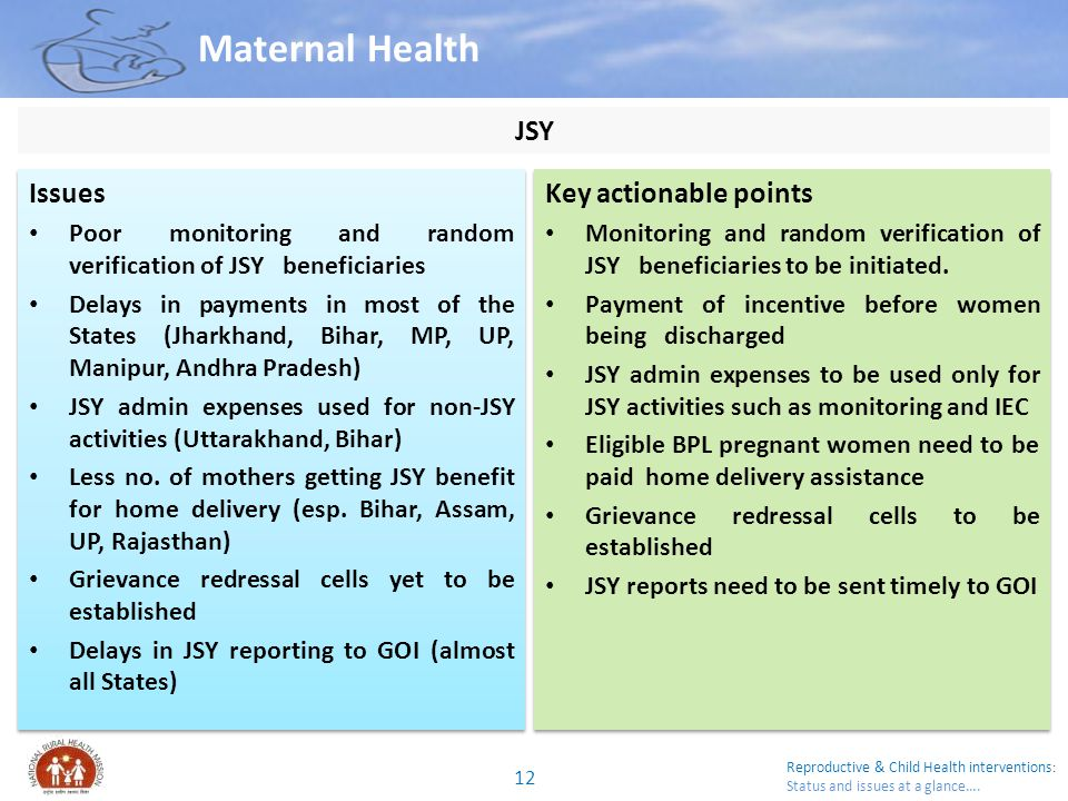 Maternal Health JSY Issues Key actionable points