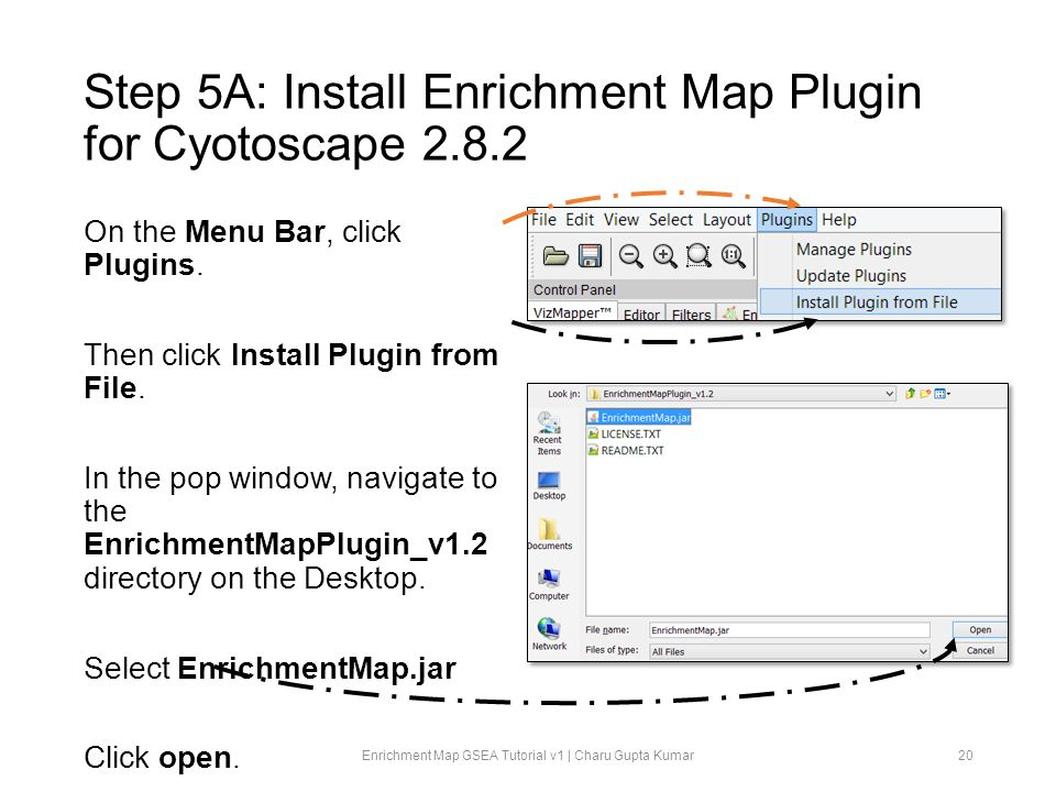 Step 5A: Install Enrichment Map Plugin for Cyotoscape 2.8.2