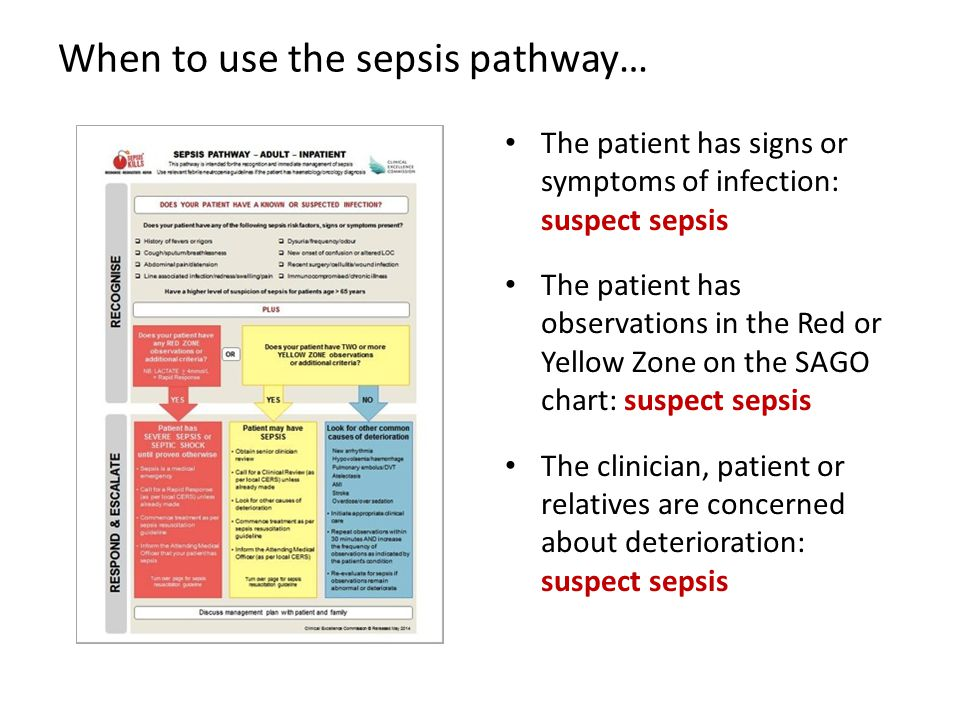 When to use the sepsis pathway…