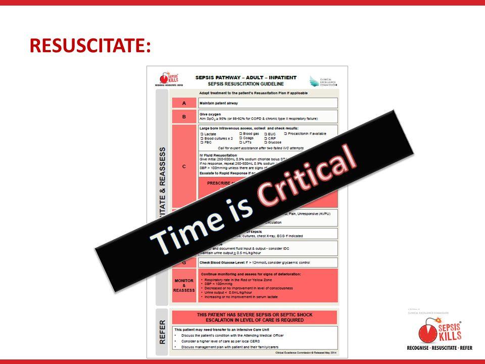 Time is Critical RESUSCITATE: RESUSCITATE: