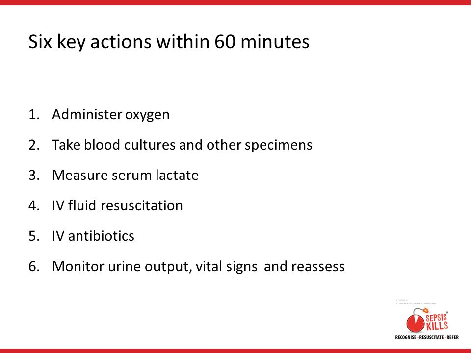 Six key actions within 60 minutes