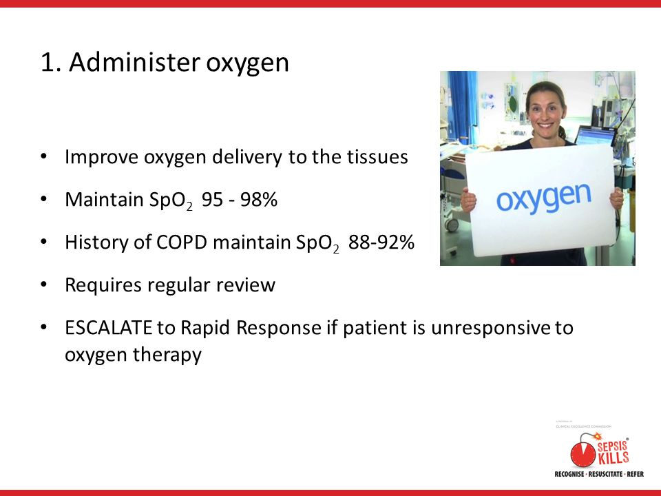 1. Administer oxygen Improve oxygen delivery to the tissues
