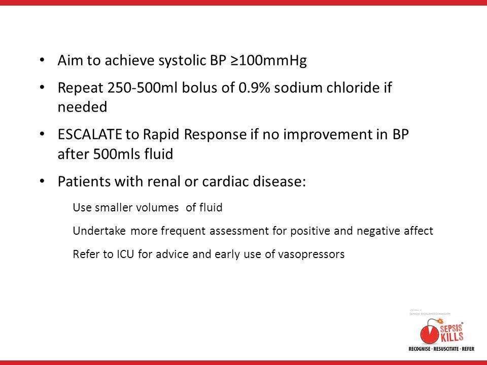 Aim to achieve systolic BP ≥100mmHg