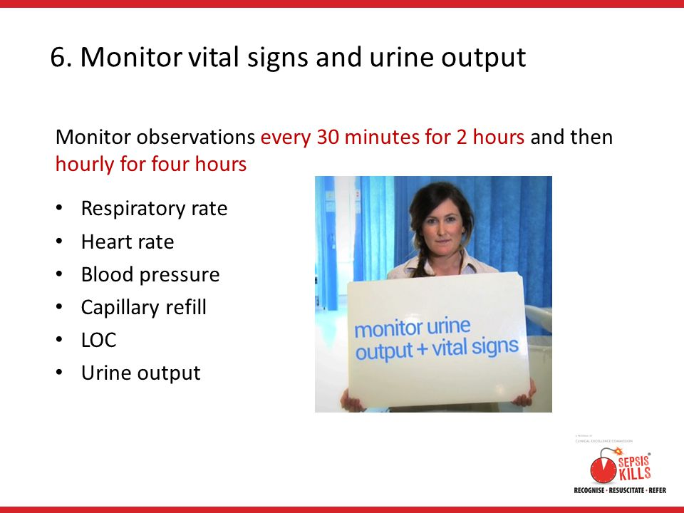 6. Monitor vital signs and urine output
