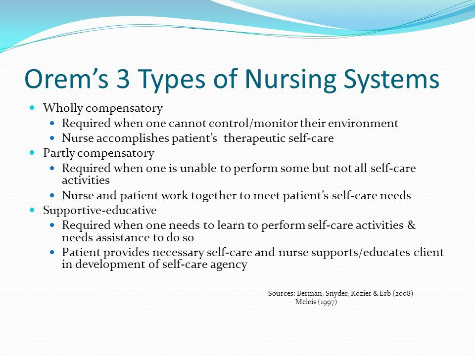 Orem's 3 Types of Nursing Systems