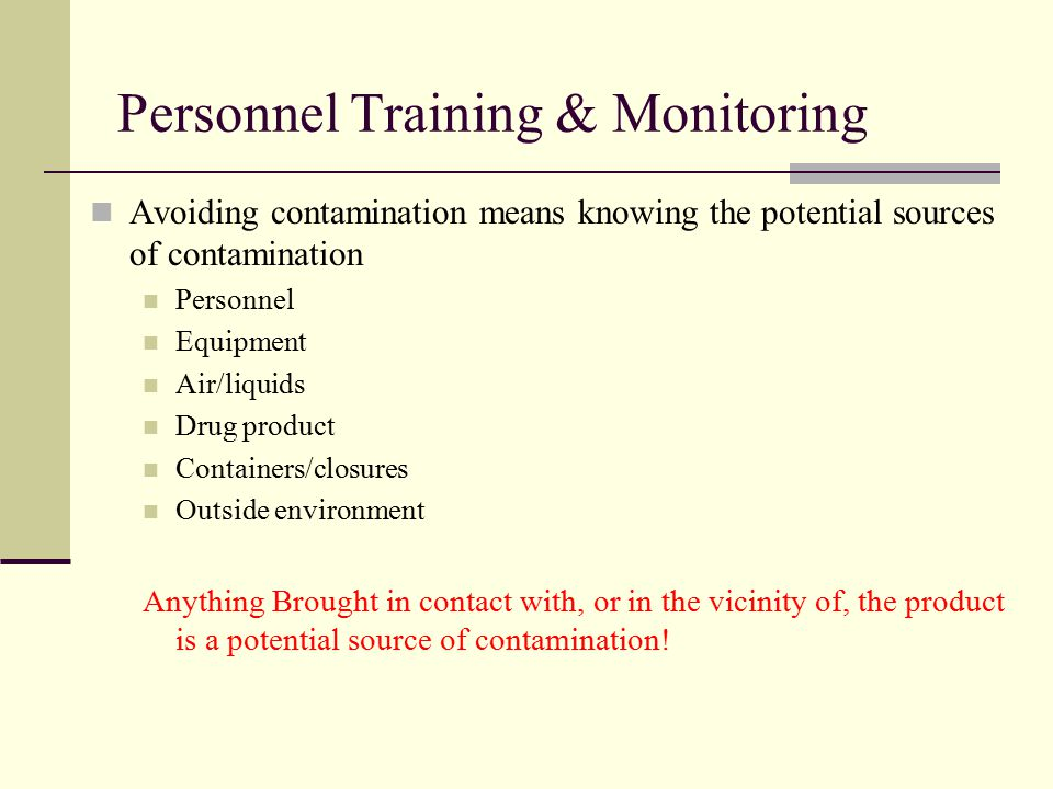 Personnel Training & Monitoring