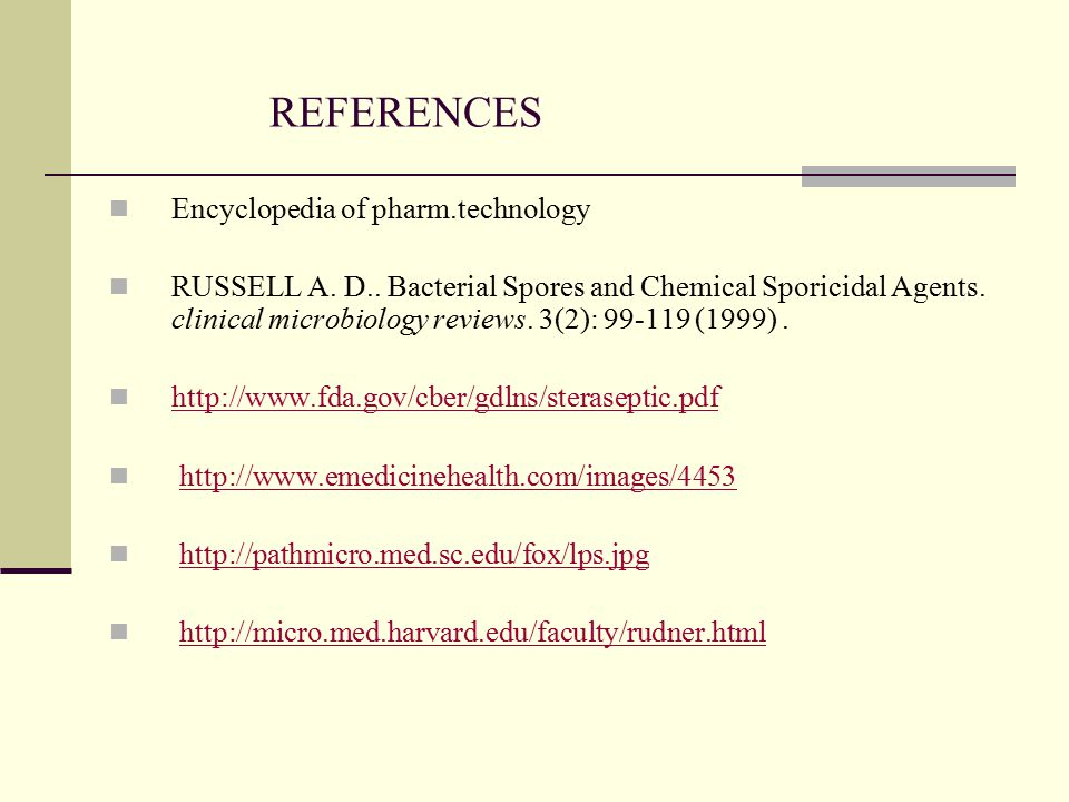 REFERENCES Encyclopedia of pharm.technology
