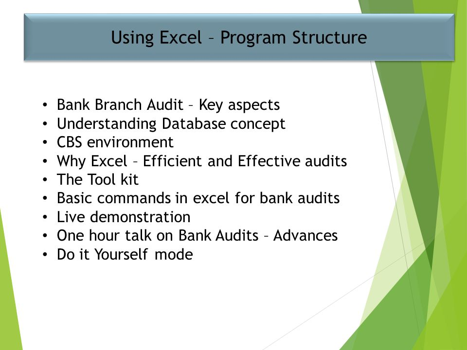 Using Excel – Program Structure