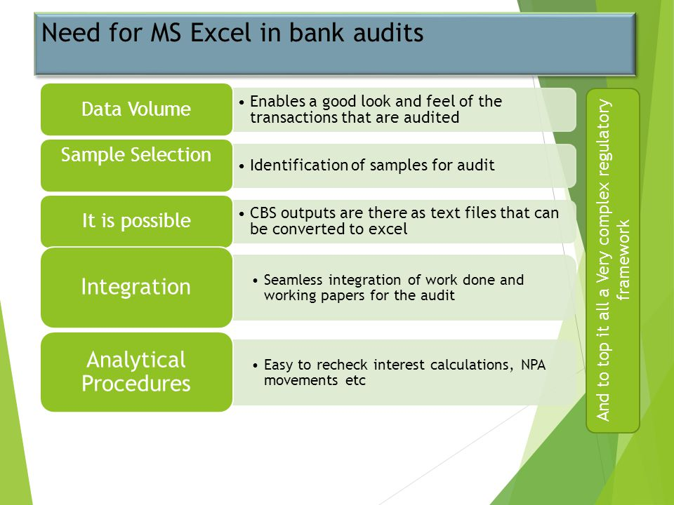 Need for MS Excel in bank audits