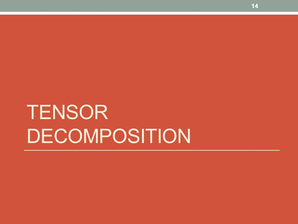 Tensor Decomposition