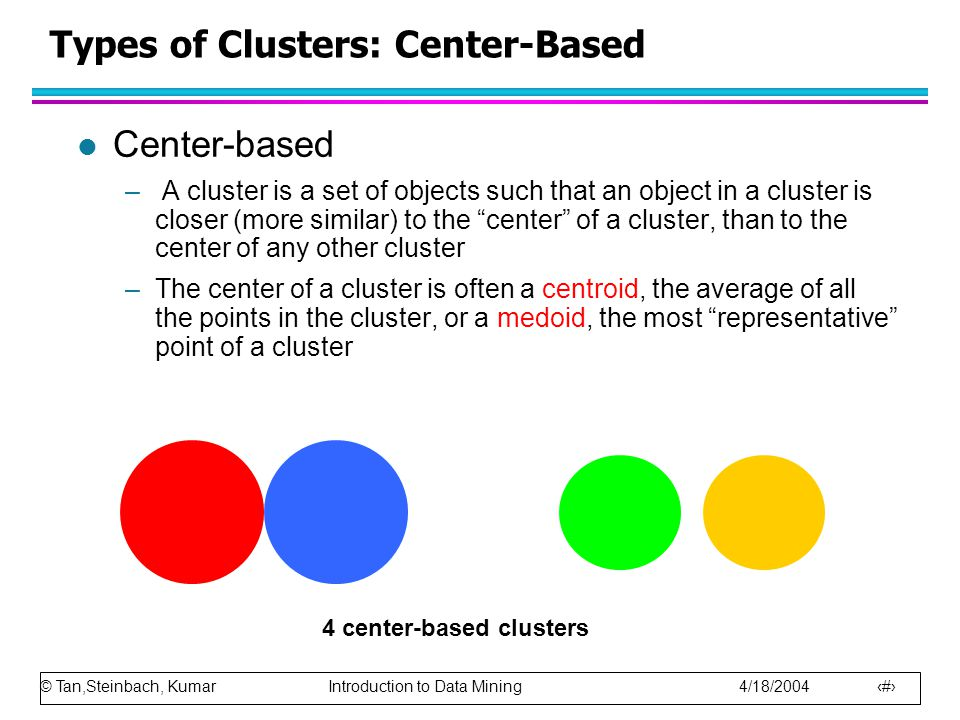 Types of Clusters: Center-Based