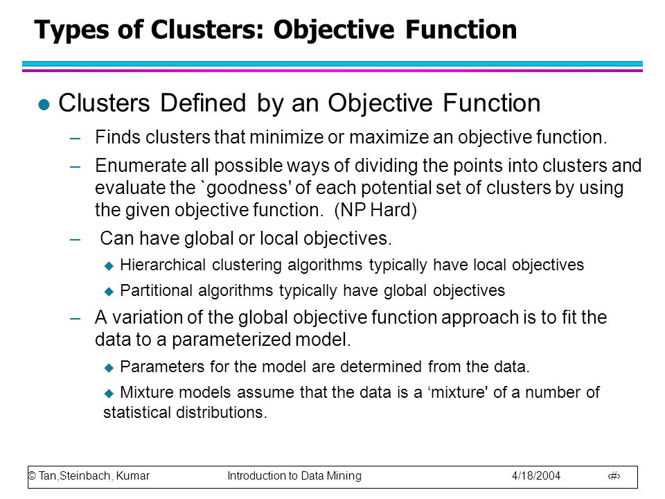 Types of Clusters: Objective Function