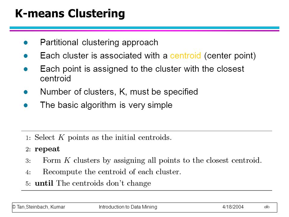 K-means Clustering Partitional clustering approach