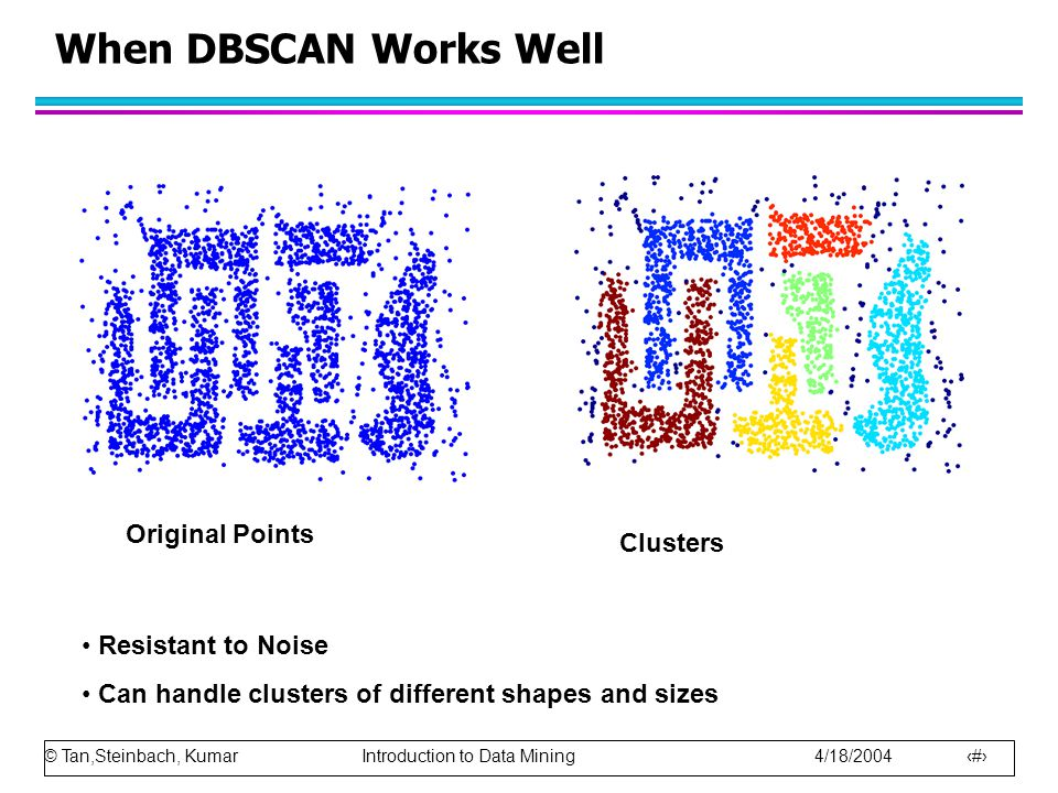 When DBSCAN Works Well Original Points Clusters Resistant to Noise