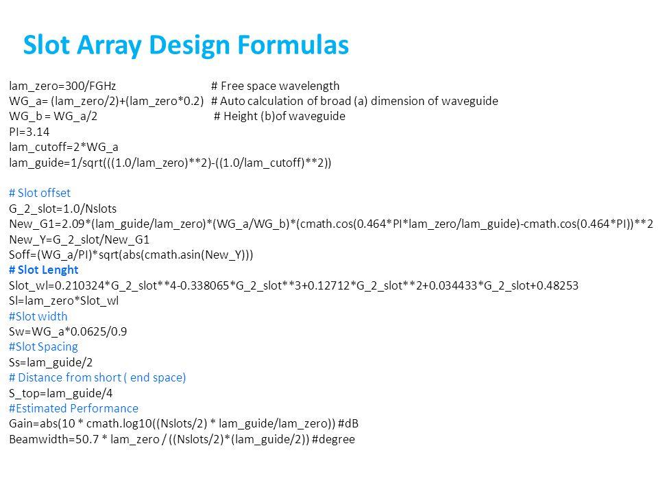 Slot Array Design Formulas