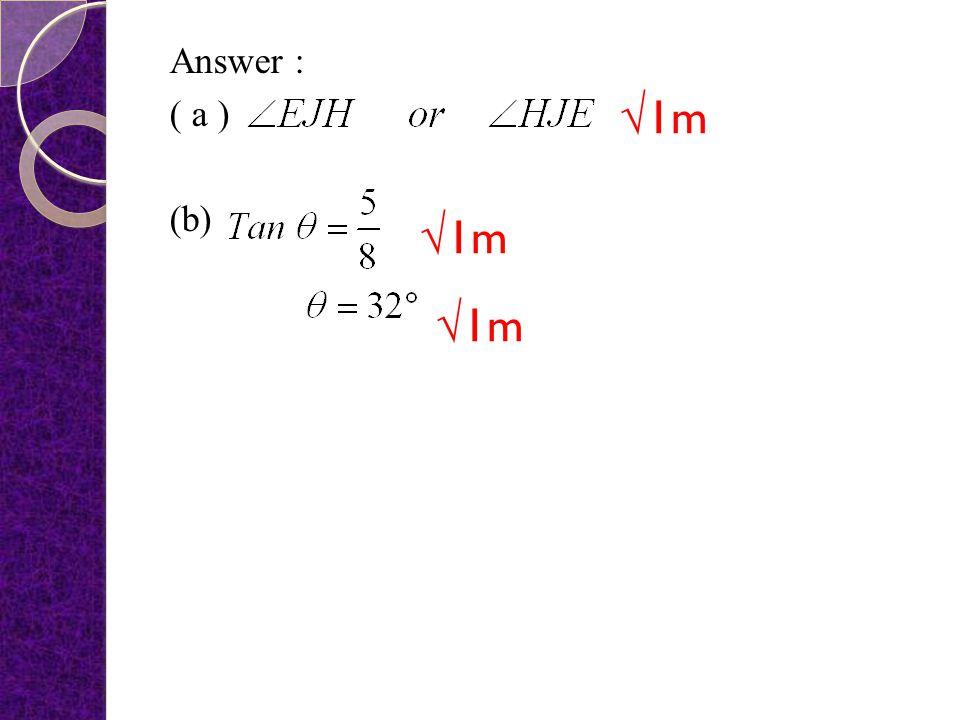 Answer : ( a ) (b) √1m √1m √1m
