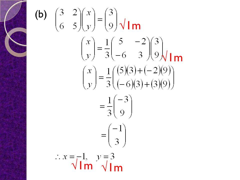 (b) √1m √1m √1m √1m