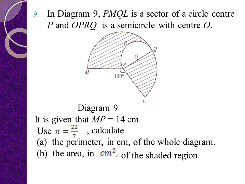 In Diagram 9, PMQL is a sector of a circle centre P and OPRQ is a semicircle with centre O.
