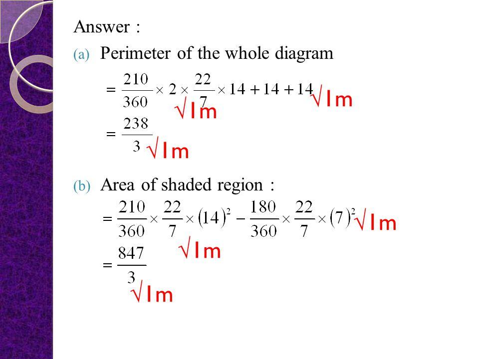 √1m √1m √1m √1m √1m √1m Answer : Perimeter of the whole diagram