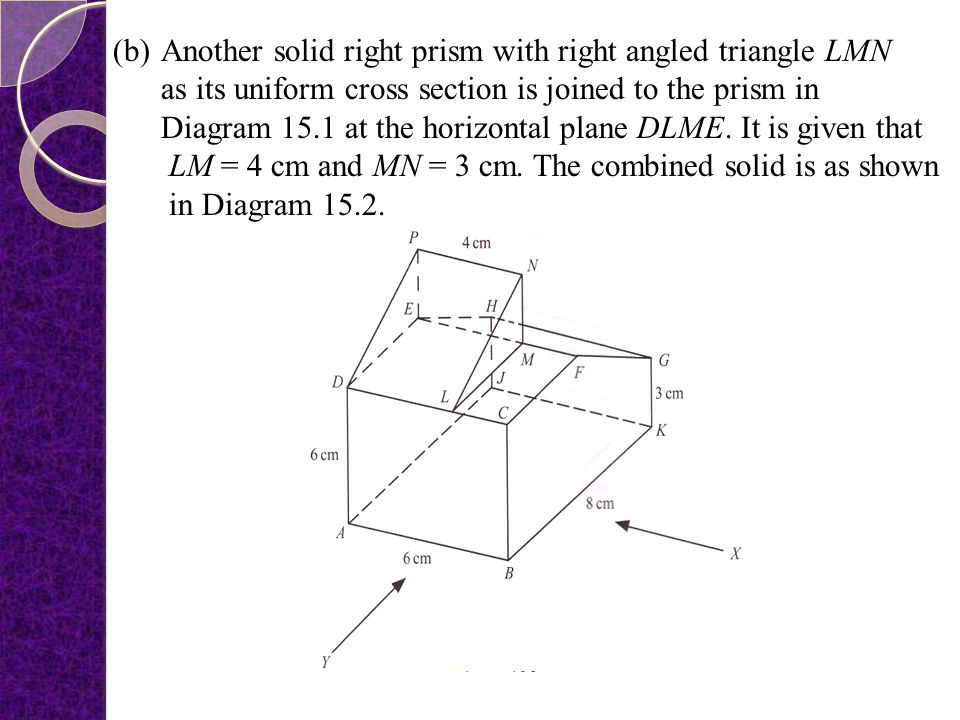 Another solid right prism with right angled triangle LMN