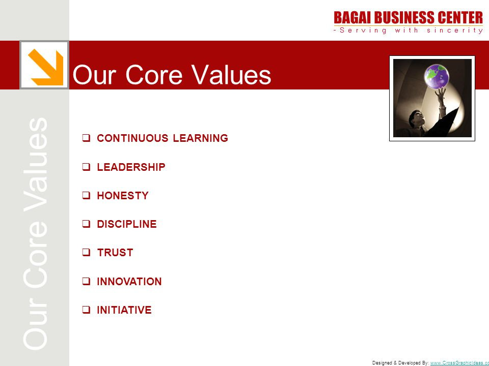 Our Core Values Our Core Values CONTINUOUS LEARNING LEADERSHIP HONESTY