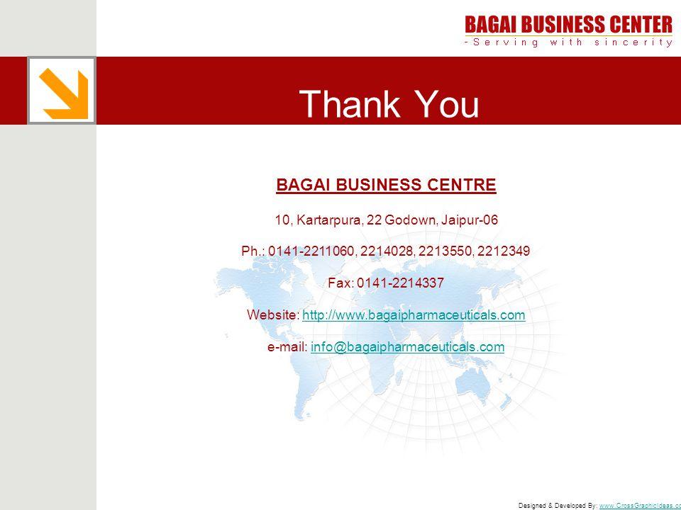 Thank You BAGAI BUSINESS CENTRE 10, Kartarpura, 22 Godown, Jaipur-06