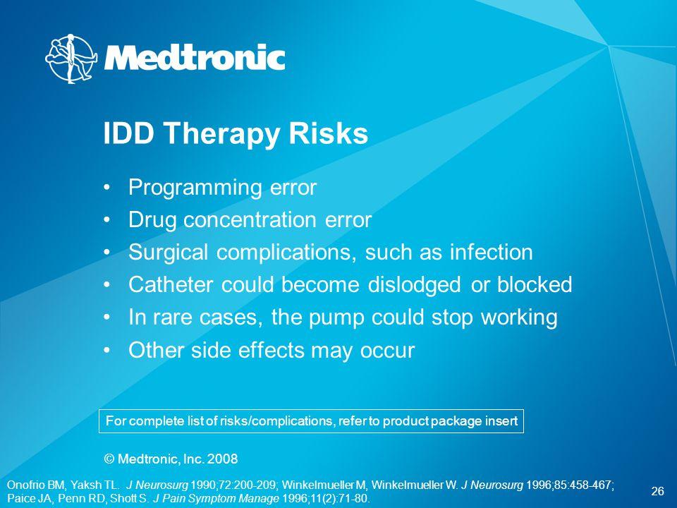 IDD Therapy Risks Programming error Drug concentration error